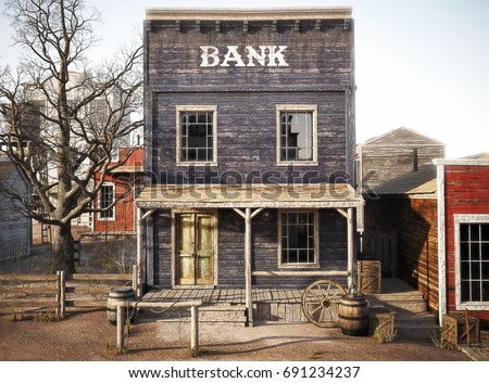 Western Town Rustic Bank 3d Rendering Stock Illustration