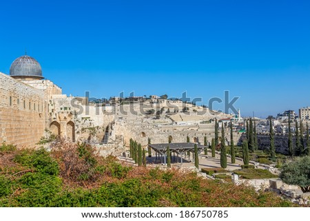 Western Wall Plaza, The Temple Mount in Old City of Jerusalem with a view to the Mount of Olives - stock photo