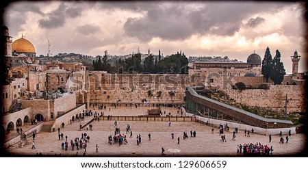 Western Wall,Temple Mount, Jerusalem, Israel. Photo in old color image style - stock photo