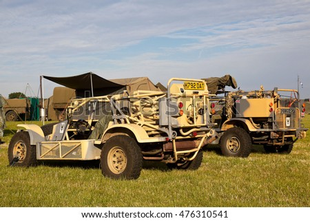 WESTERNHANGER, UK - JULY 21: A pair of ex special forces buggy's stand on public display for the more adventurous visitor to see at the War & Peace Revival show on July 21, 2016 in Westernhanger