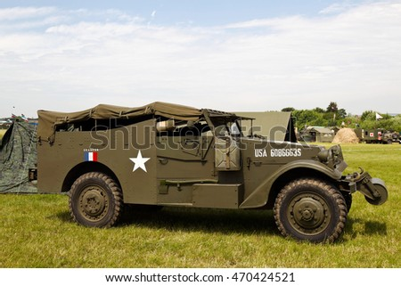 WESTERNHANGER, UK - JULY 20: An ex US army armoured troop carrier and command car stands on static display for the public to view at the War & Peace Revival show on July 20, 2016 in Westernhanger