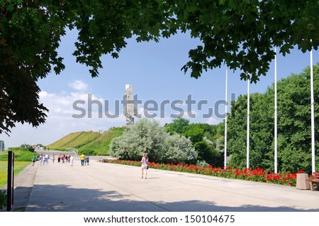 WESTERPLATTE, POLAND - JULY 26: Park alley to monument commemorating first battle of Second World War in July 26, 2013 in Westerplatte, Poland. Second World War started the 1st September in 1939 year.