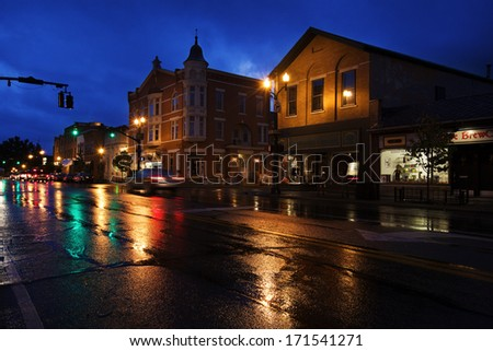 "WESTERVILLE, OHIO - OCTOBER 3, 2013:  Westerville, Ohio is one of America's ""best small towns"".  Westerville is a suburb of Columbus, OH. - stock photo"