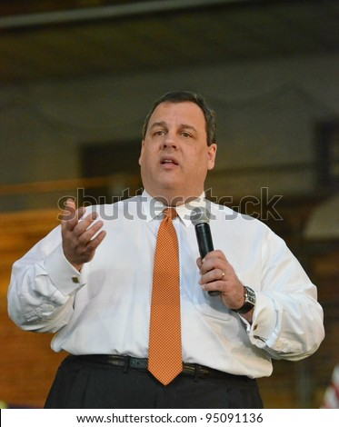 "WESTFIELD,NJ-FEBRUARY 8:New Jersey Governor Chris Christie continued his ""New Jersey Comeback"" theme at a town hall meeting held at the Westfield Armory located in Westfield,N.J. on February 8,2012. - stock photo"