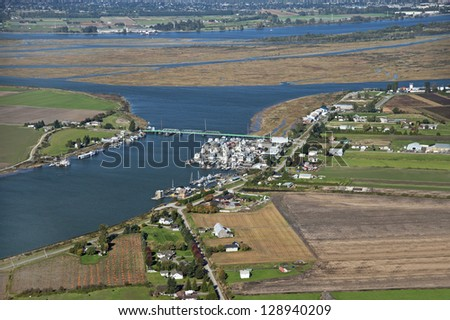 Westham Island and Fraser Valley, Richmond, British Columbia, Canada - stock photo