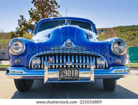 WESTLAKE, TEXAS - OCTOBER 18, 2014: A blue 1947 Buick Super is on display at the 4th Annual Westlake Classic Car Show. Front view.  - stock photo
