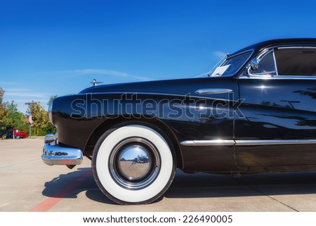 WESTLAKE, TEXAS - OCTOBER 18, 2014: A 1947 Buick Super Sedanette is on display at the 4th Annual Westlake Classic Car Show. Closeup of front side view. - stock photo