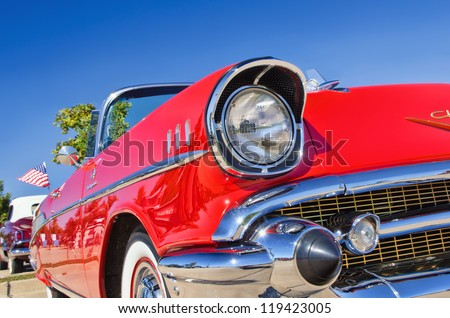 WESTLAKE, TEXAS - OCTOBER 27: A 1957 Chevrolet Bel Air is on display at the 2nd Annual Westlake Classic Car Show on October 27, 2012 in Westlake, Texas. - stock photo