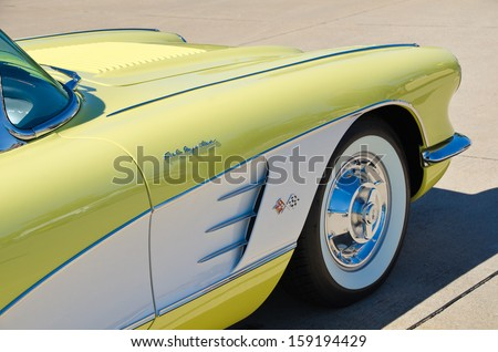 WESTLAKE, TEXAS - OCTOBER 19: A 1958 Chevrolet Corvette Convertible is on display at the 3rd Annual Westlake Classic Car Show on October 19, 2013 in Westlake, Texas. Front side view. - stock photo
