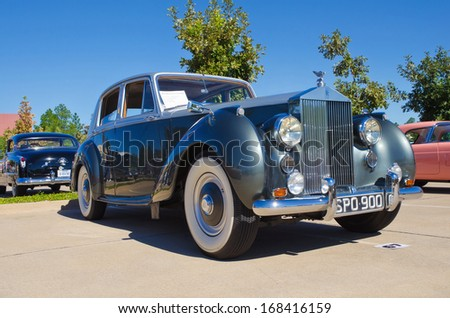 WESTLAKE, TEXAS - OCTOBER 19, 2013: A 1955 Rolls Royce Silver Dawn 4Dr Sedan on display at the 3rd Annual Westlake Classic Car Show. - stock photo