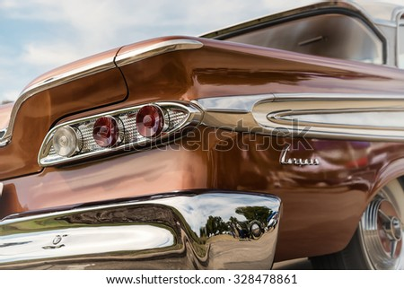 WESTLAKE, TEXAS - OCTOBER 17, 2015: Taillight details of a 1959 Edsel Corsair Sedan classic car, manufactured by the Ford Motor Company.  - stock photo