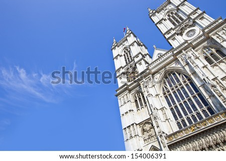 Westminster Abbey and Blue Sky - stock photo