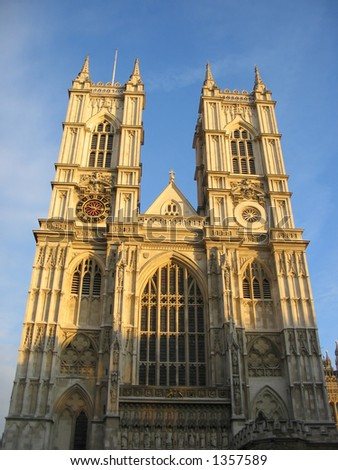 Westminster Abbey at dusk, London - stock photo