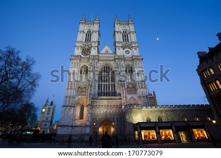 Westminster Abbey at night, London, England, UK.