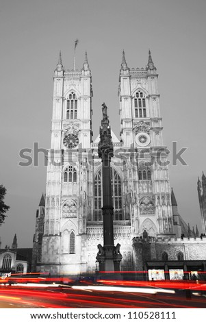 Westminster Abbey at Night seen from Parliament Square - stock photo
