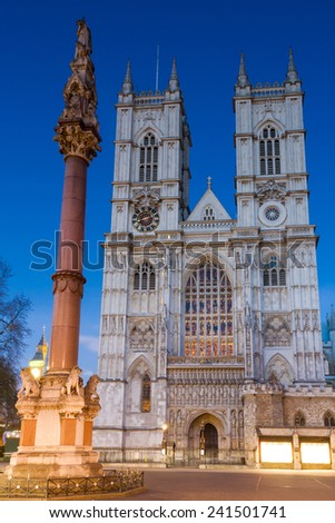 Westminster Abbey during twilight, London, England - stock photo