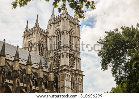 Westminster abbey in London, UK. Image with selective focus - stock photo