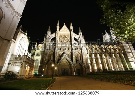 Westminster Abbey, North Entrance, seen from Parliament Square. - stock photo
