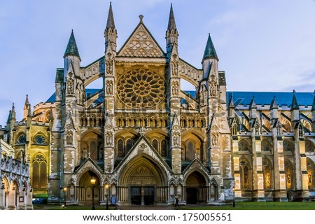 Westminster Abbey (The Collegiate Church of St Peter at Westminster) - Gothic church in City of Westminster, London. Westminster is traditional place of coronation and burial site for English monarchs - stock photo