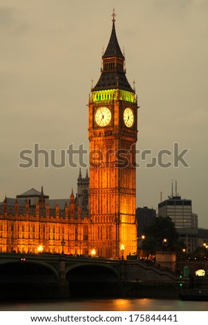 Westminster Abbey with Big Ben, London - stock photo