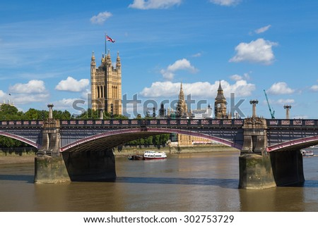 Westminster and Lambeth Bridge in London during the summer. There is space for text. - stock photo