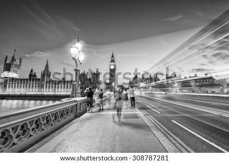 Westminster at night. Black and white view of London. - stock photo