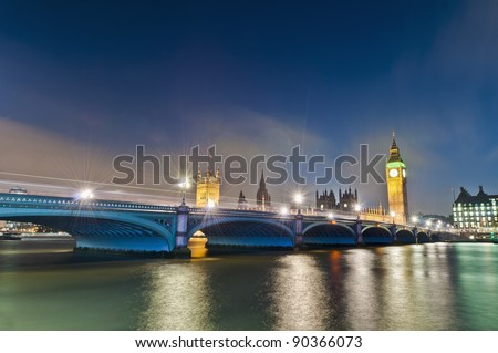 Westminster Bridge across Thames river at London, England - stock photo