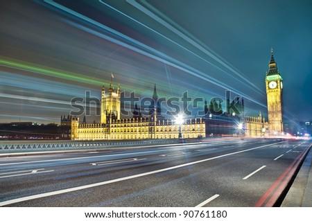 Westminster Bridge across Thames river at London, England - stock photo