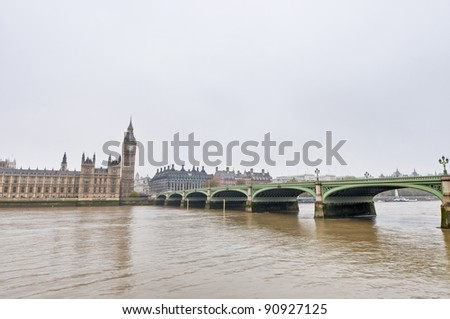 Westminster Bridge across Thames river at London, England