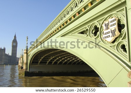 Westminster Bridge and Big Ben in London, England - stock photo