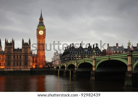 Westminster Bridge and Big Ben in the evening - stock photo