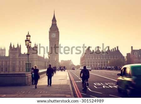 Westminster Bridge at sunset, London, UK - stock photo