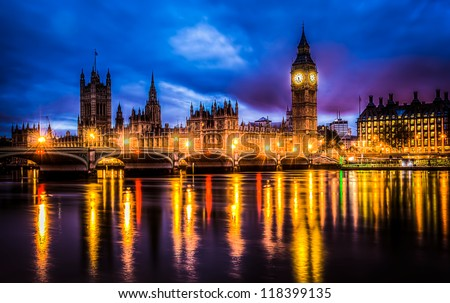 westminster bridge by night hdr image - stock photo