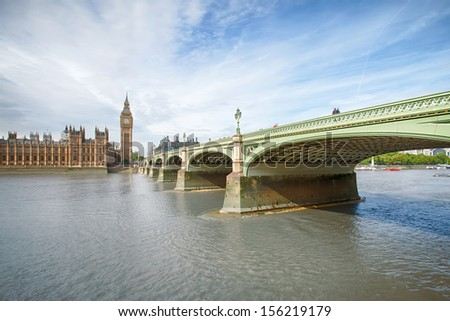 westminster bridge leading to Houses of Parliament and Big Ben