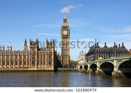 Westminster Bridge with Big Ben in London - stock photo