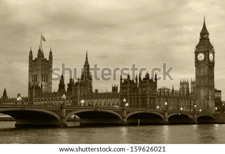 Westminster Bridge with Big Ben in London - stock photo