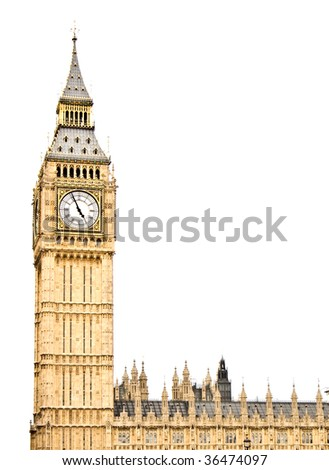 Westminster Clock Tower (aka Big Ben) isolated on white, part of the UK Houses of Parliament - stock photo