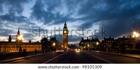 Westminster Night View seen from Westminster Bridge - stock photo