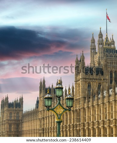 Westminster Palace Facade against a blue sky. - stock photo