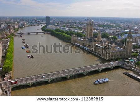 Westminster parliament and Big ben in London, uk - stock photo