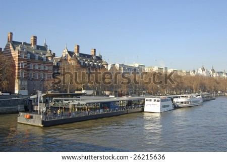 Westminster Pier Victoria Embankment London England Stock Photo
