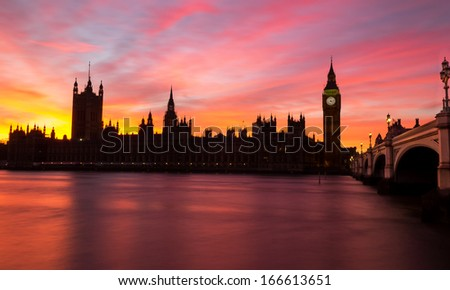 Westminster red sky at night - stock photo