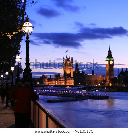 Westminster seen from South Bank - stock photo