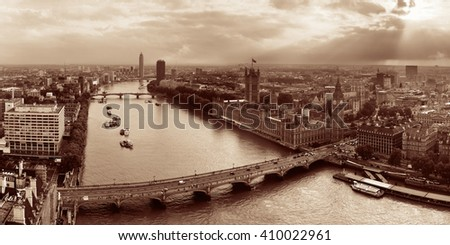 Westminster viewed from London Eye with House of Parliament, London. - stock photo