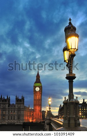 Westminster with Big Ben of London - stock photo