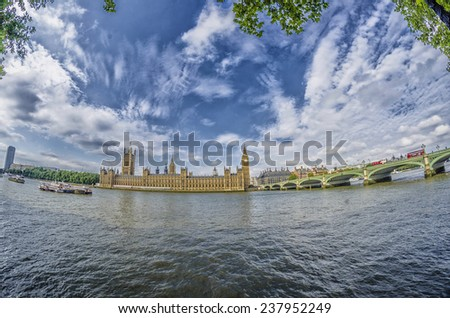 Westminsyer palace and bridge with beautiful sky.