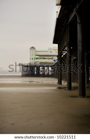 Weston-Super-Mare Grand Pier, Somerset, UK. Taken during Jan 2008 with the tide out. - stock photo