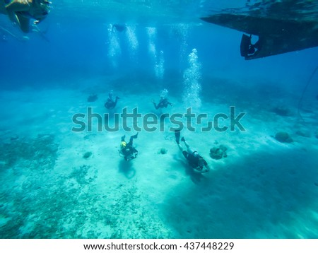 Westpunt - a small fishing village with turtles and schools of fish -  Curacao a small Caribbean Island in the Netherlands Antilles - stock photo