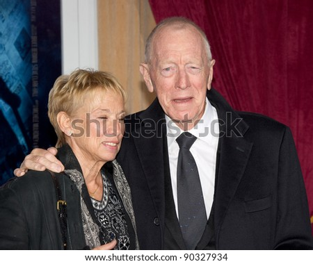 "WESTWOOD, CA - DECEMBER 6: Actor Max von Sydow arrives at the premiere of ""Sherlock Holmes 2: A Game of Shadows"" at Regency Village Theater on December 6, 2011 in Westwood, California - stock photo"