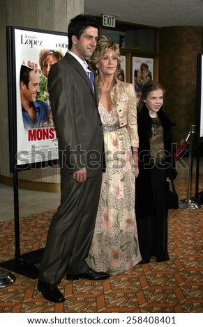 "WESTWOOD. CALIFORNIA. April 29, 2005. Jane Fonda and son Troy attend at the Los Angeles Premiere of ""Monster-In-Law"" at the Mann National Theatre in Westwood, Los Angeles, California.   - stock photo"